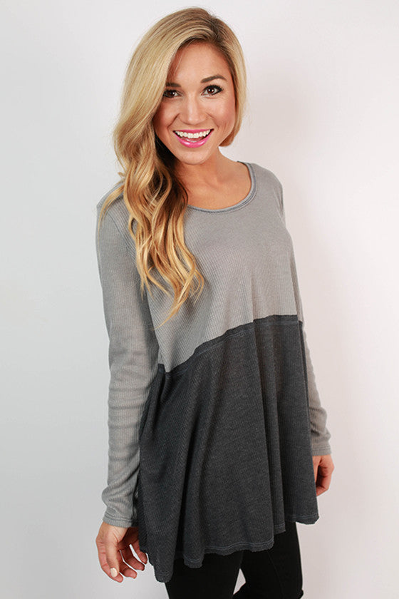 One Way To France Tunic Top in Slate