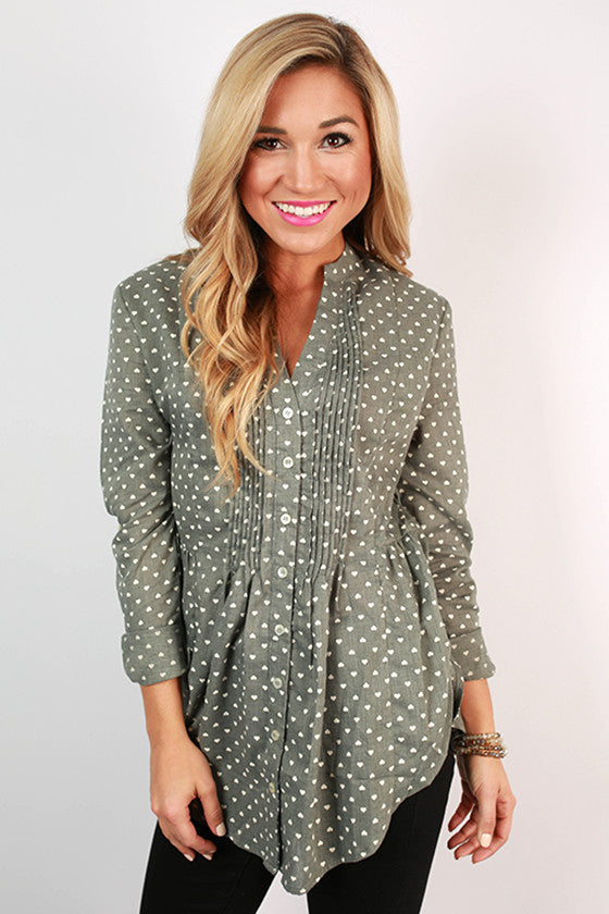 Napa Tasting Button Up Top in Pear