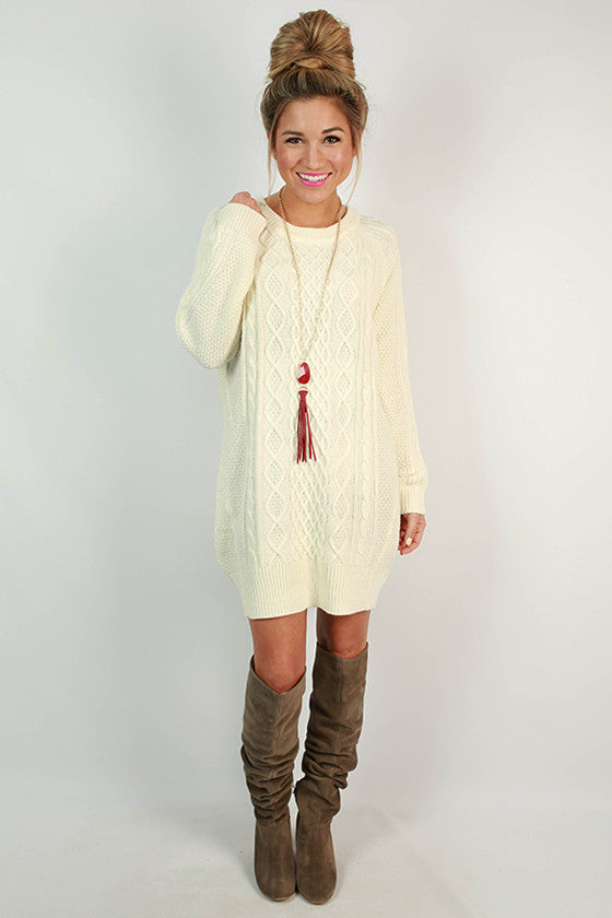 Cozy on the Slopes Cable Knit Sweater Dress in Ivory