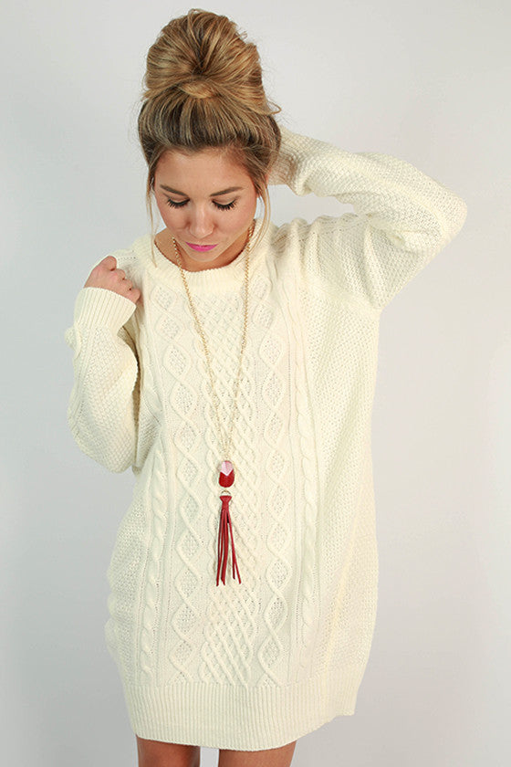 Cozy on the Slopes Cable Knit Sweater Dress in Ivory ...