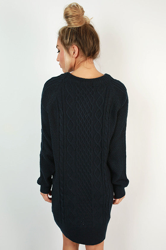 Cozy on the Slopes Cable Knit Sweater Dress in Navy