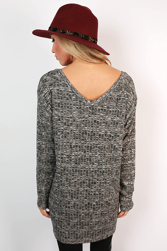 Sweet Splendor Ribbed V-Neck Tee in Dark Grey