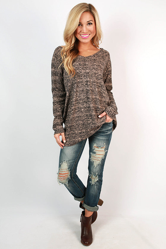 Sweet Splendor Ribbed V-Neck Tee in Latte