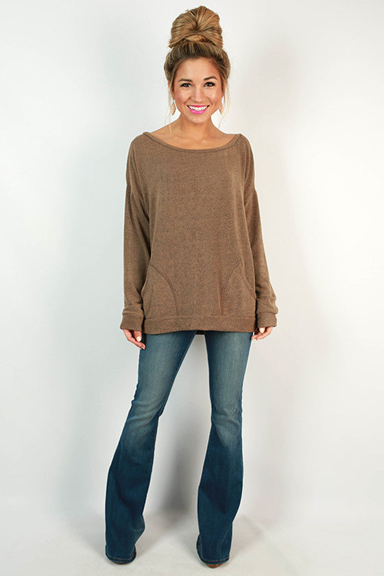 Sunday Morning Pocket Sweater in Taupe
