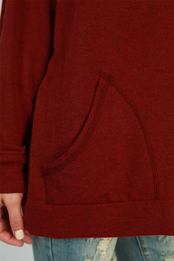 Sunday Morning Pocket Sweater in Crimson