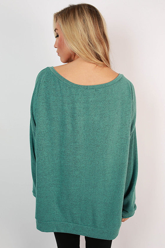 Sunday Morning Pocket Sweater in Turquoise