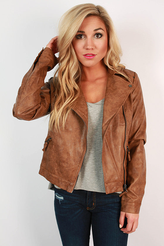 Coffee Date Faux Leather Jacket