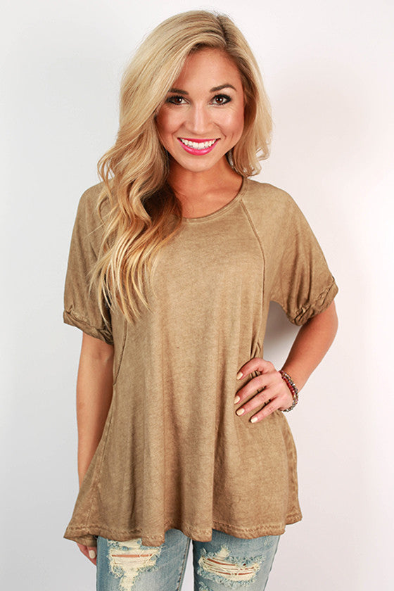 Wine On The Weekend Boyfriend Tee in Mocha