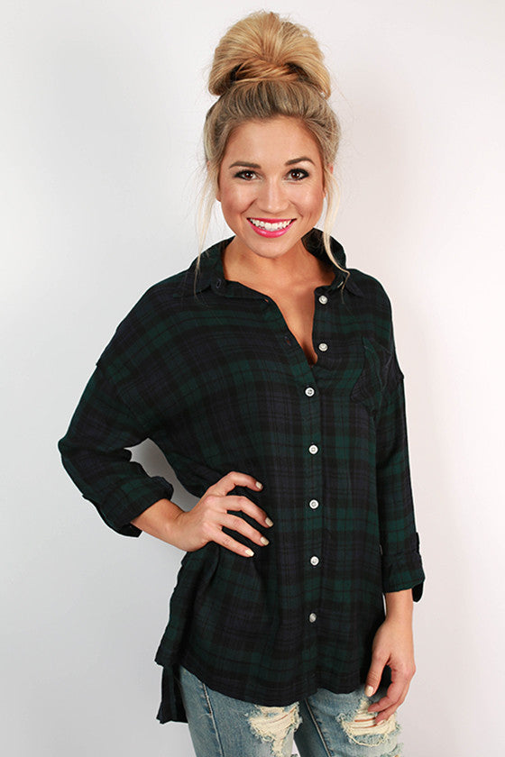 Sweet Sipping Plaid Tunic in Forest Green
