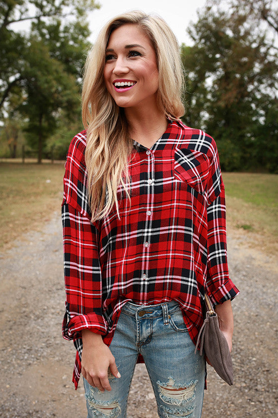 Sweet Sipping Plaid Tunic in Red