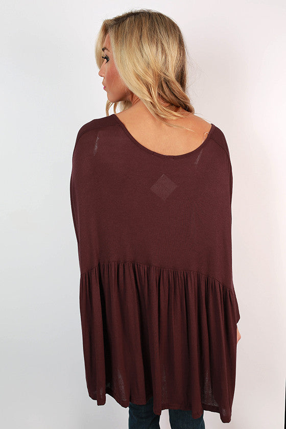 Not Your Babydoll Swing Top in Maroon