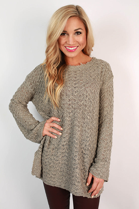Soft & Sweet Knit Sweater in Grey