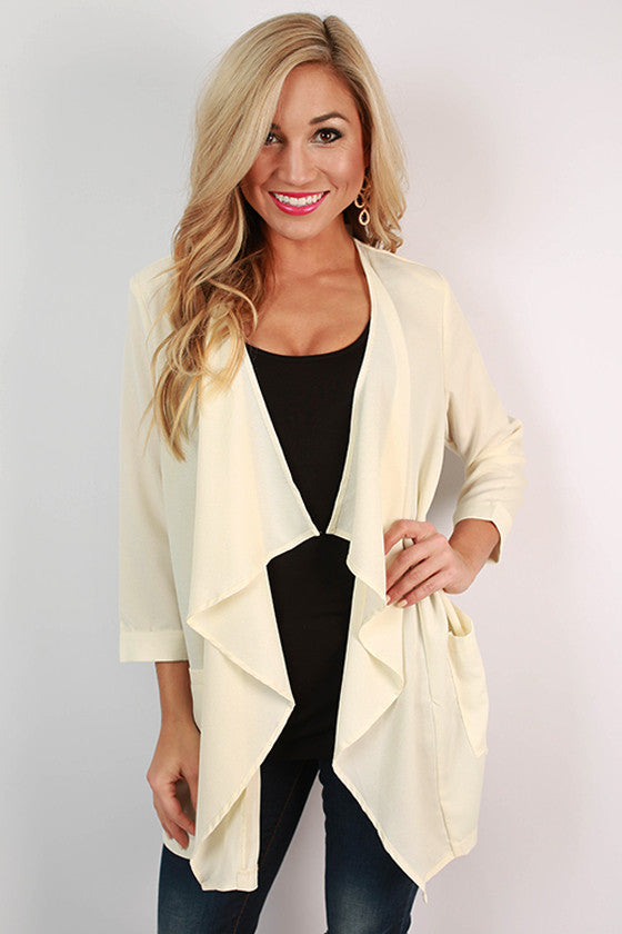 Coffee Until Cocktails Blazer in Ivory