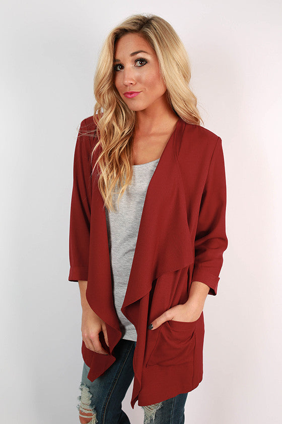 Coffee Until Cocktails Blazer in Crimson