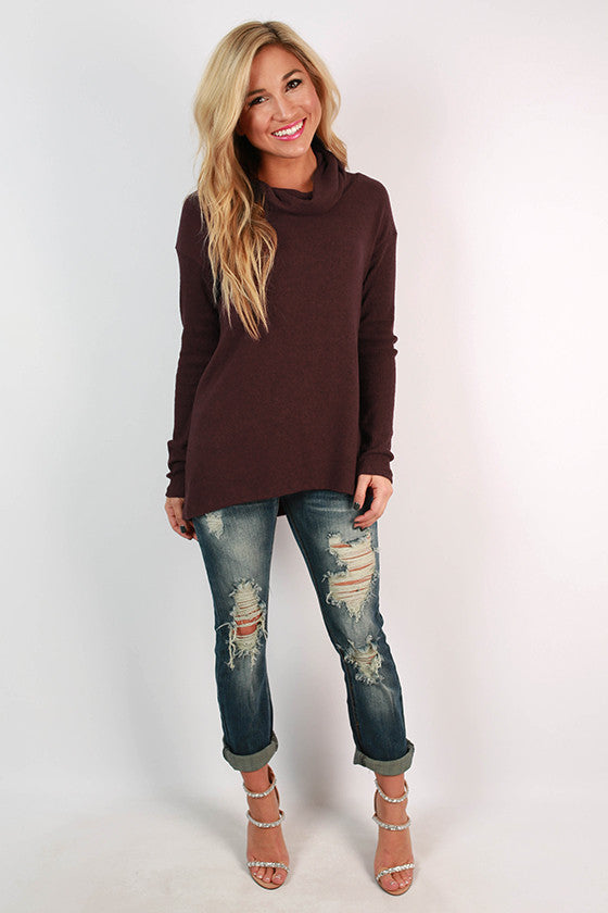 Cafe Play Date Sweater in Maroon