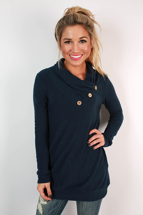 Cabin Fever Button Tunic Sweater in Navy