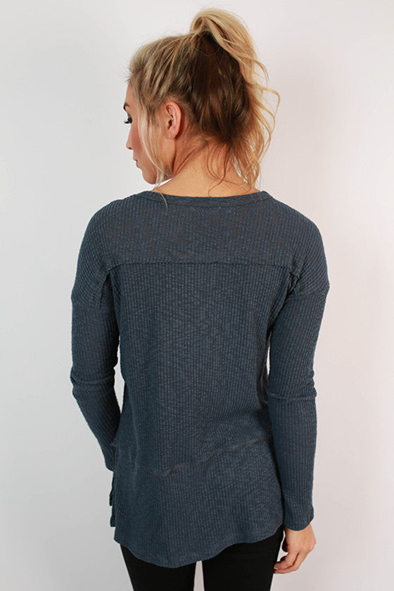 Warm Fuzzy Feelings Thermal Tee in Slate