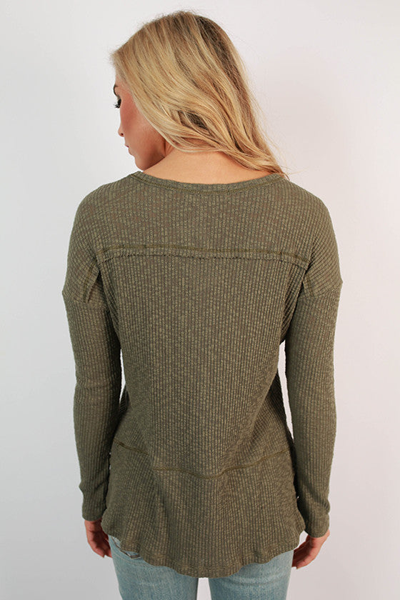 Warm Fuzzy Feelings Thermal Tee in Sage