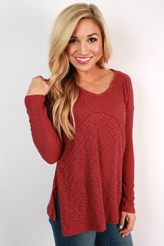 Warm Fuzzy Feelings Thermal Tee in Sangria