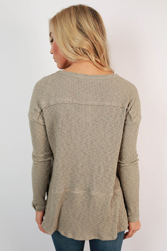 Warm Fuzzy Feelings Thermal Tee in Taupe