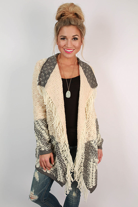 First Class Travels Cardigan in Champagne