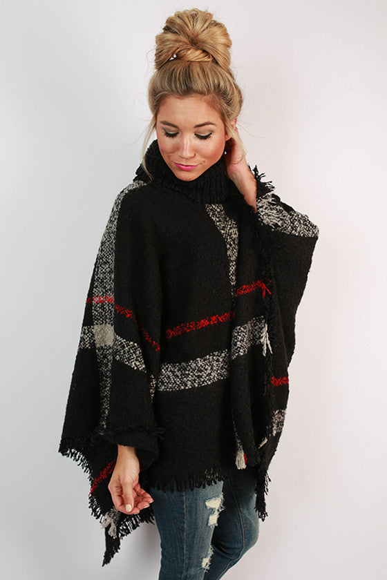 Cup Of Cozy Poncho in Black