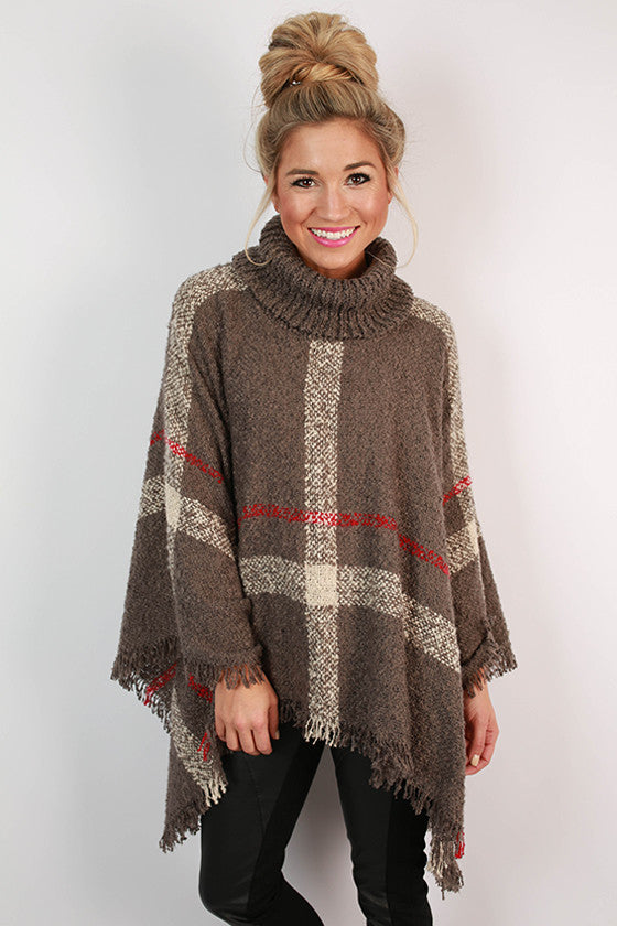 Cup Of Cozy Poncho in Grey