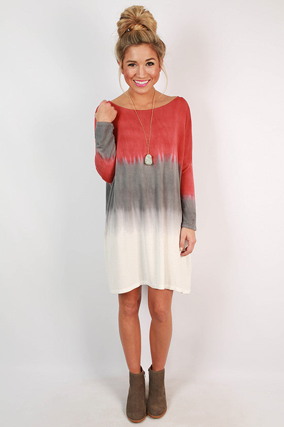 I'll Charm You Ombre Tunic in Rusty Red