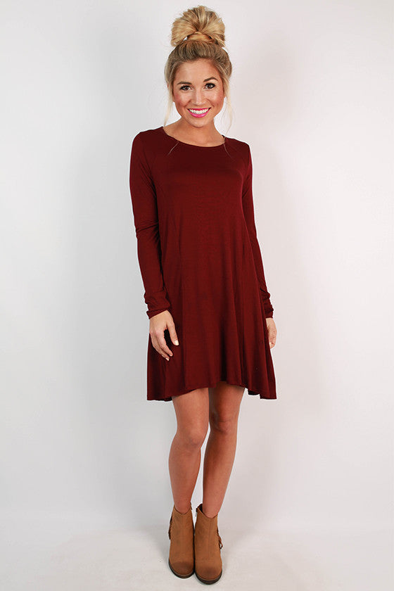 Chic To Meet You Shift Dress in Maroon