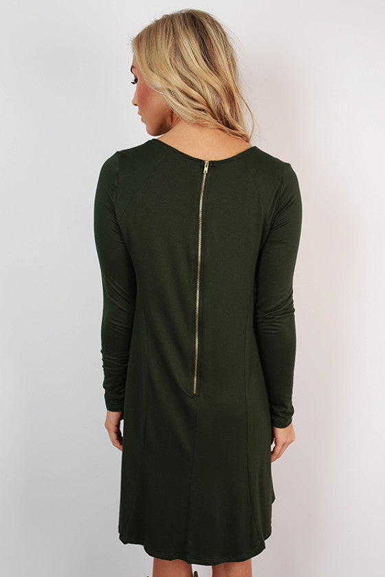 Chic To Meet You Shift Dress in Hunter Green