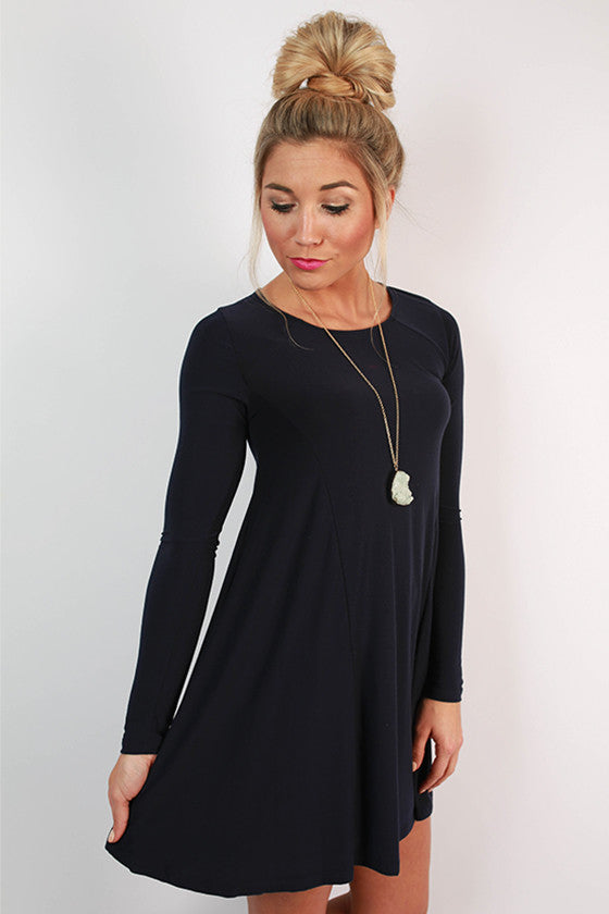 Chic To Meet You Shift Dress in Navy