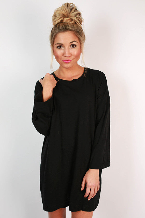 Rainy Day T-Shirt Dress in Black