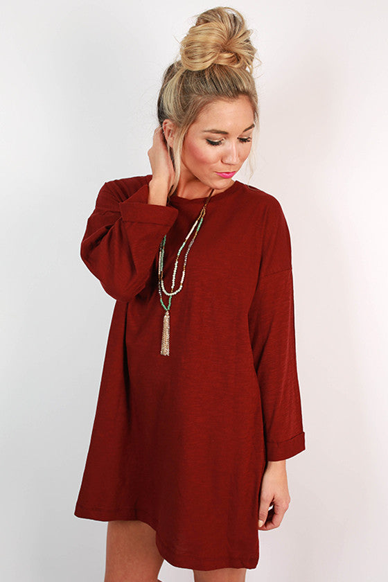 Rainy Day T-Shirt Dress in Rusty Red