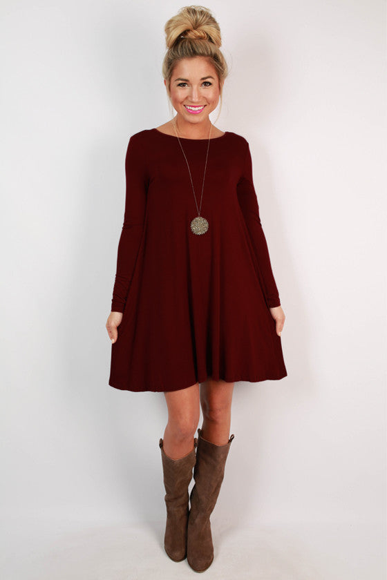 Constant Giggles Shift Dress in Ruby Wine