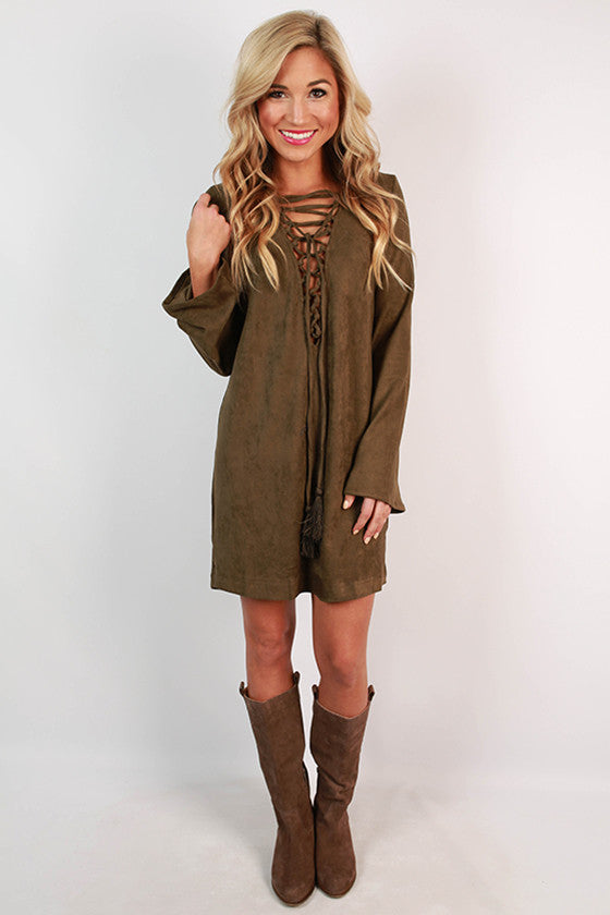 Making An Entrance Suede Shift Dress in Army Green