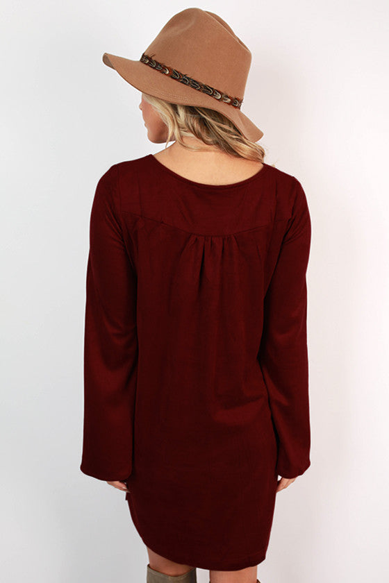 Making An Entrance Suede Shift Dress in Ruby Wine