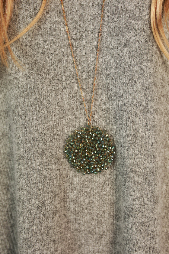 Sparkle for Days Necklace in Hunter Green
