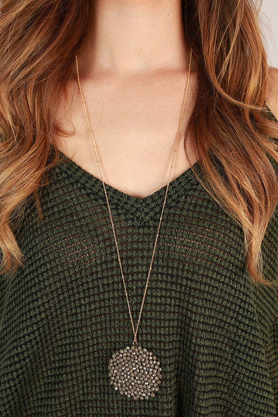 Sparkle for Days Necklace in Dark Grey