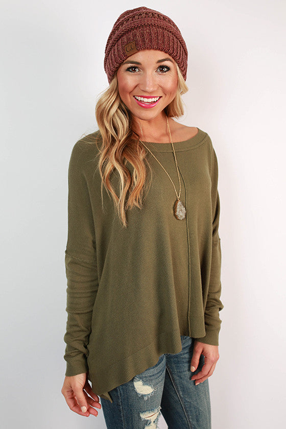 Coffee Bean Aroma Sweater in Army Green