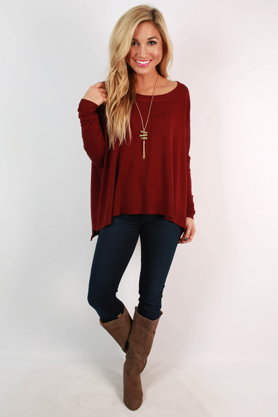 Coffee Bean Aroma Sweater in Ruby Wine
