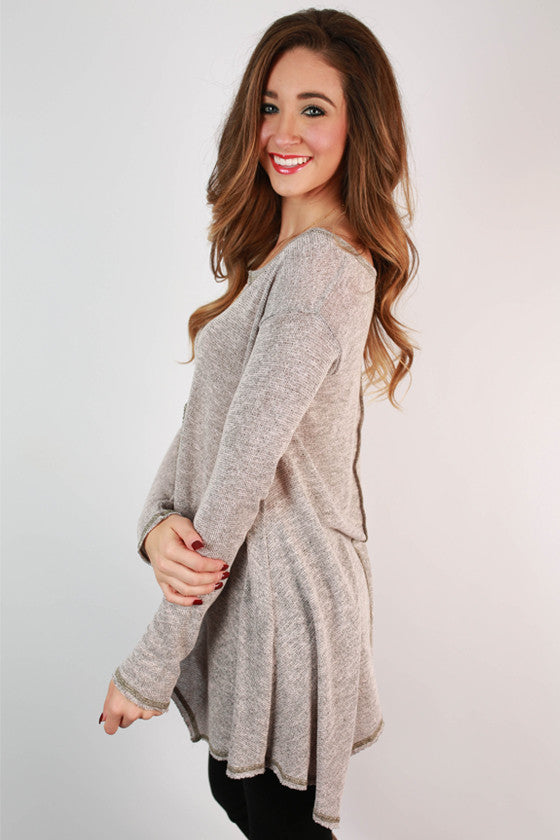 Love & Lattes V-Neck Top in Dusty Purple