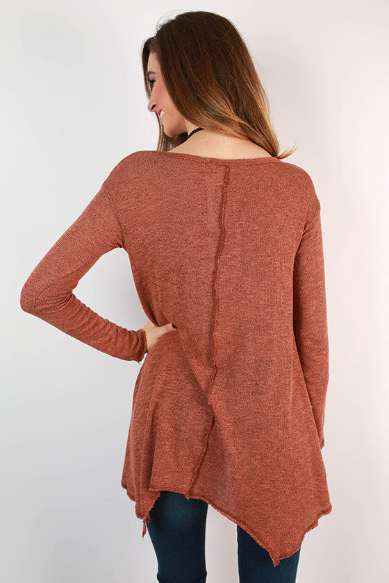 Love & Lattes V-Neck Top in Rust