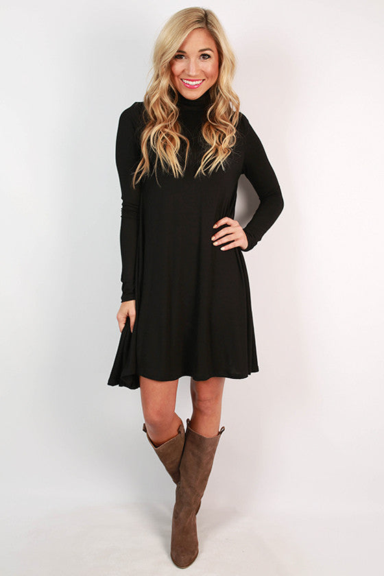 Dinner & Dancing Shift Dress in Black