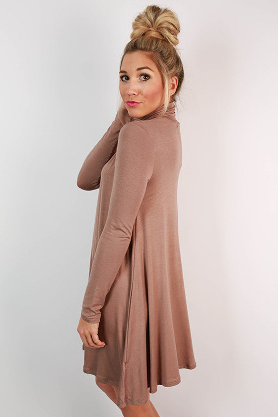 Dinner & Dancing Shift Dress in Taupe