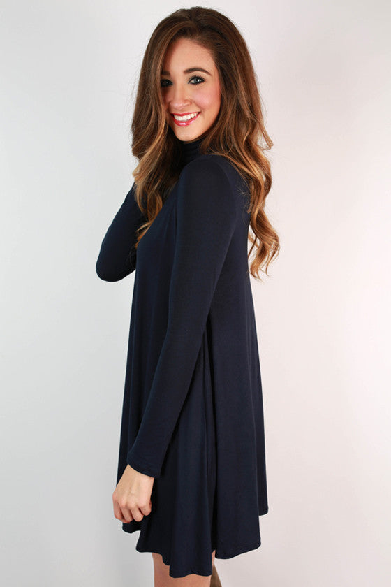 Dinner & Dancing Shift Dress in Navy
