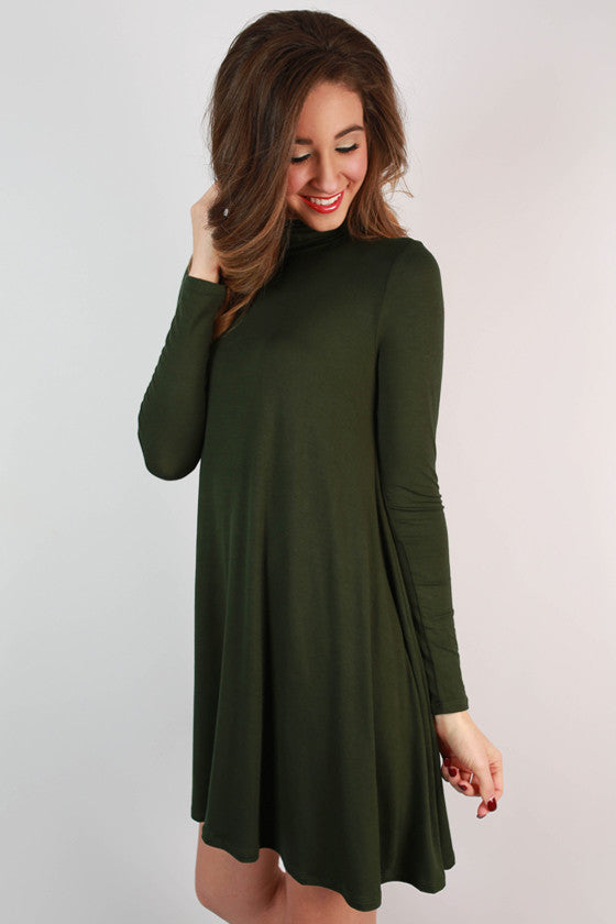 Dinner & Dancing Shift Dress in Hunter Green