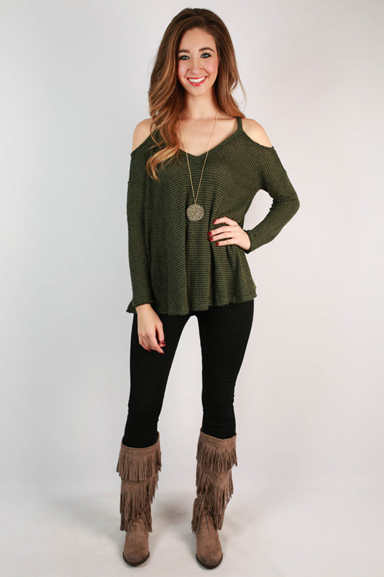 Claim To Fame Knit Top in Olive