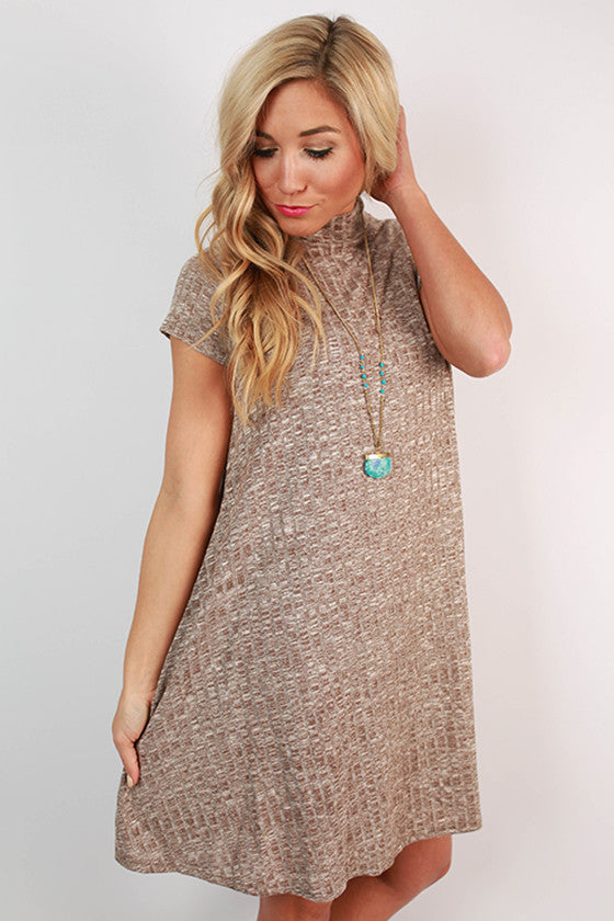 Haute For Fall Shift Dress in Taupe