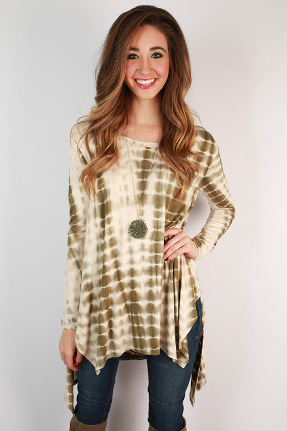 Steamboat Sunsets Tie Dye Tunic in Army Green