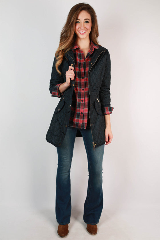 Madison Square Cuddles Quilted Jacket in Navy